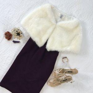 White Faux Fur Shoulder Shawl